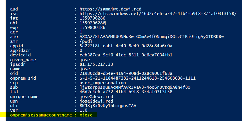 Add sAMAccountName to Azure AD Access Token (JWT) with Claims